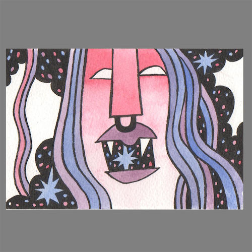 Yawn 2 postcard painting