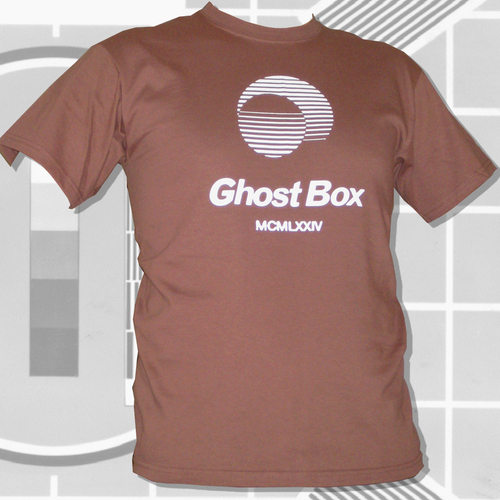 Ghost Box Heavyweight Cotton T-Shirt. White on brown